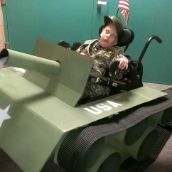 Tank Chair Wheelchair Ikea Laptop Stand Step Father Turns His 6 Year Old Son With A