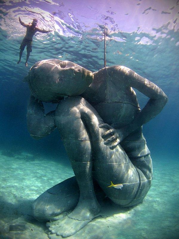 Ocean Atlas Massive Underwater Statue Of Girl Carrying