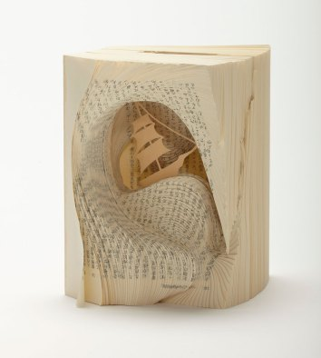 Book Sculptures Tomoko Takeda Two Years' Vacation by Jules Verne Ship Ocean Adventure 1888 Schoolboys Stranded