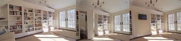 Hidden, Rotating Bookshelf Door (w/tv)