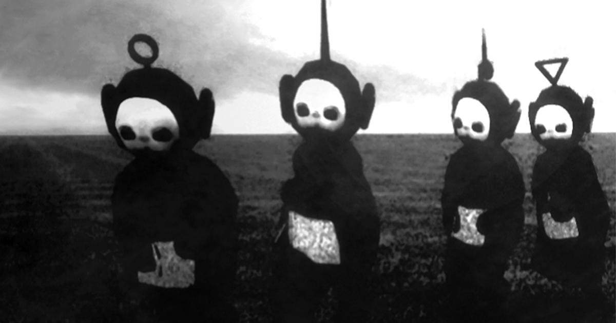teletubbies in black white