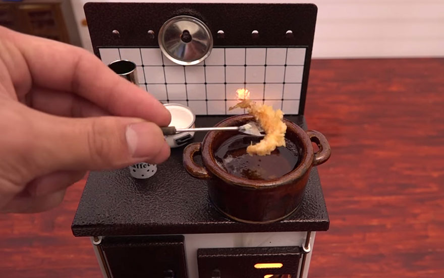 Man Bakes Tiny Cake Using Tiny Tools In A Tiny Kitchen