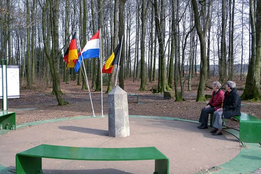 Point Where Borders Of Germany, The Netherlands And Belgium Converge Near City Of Aachen