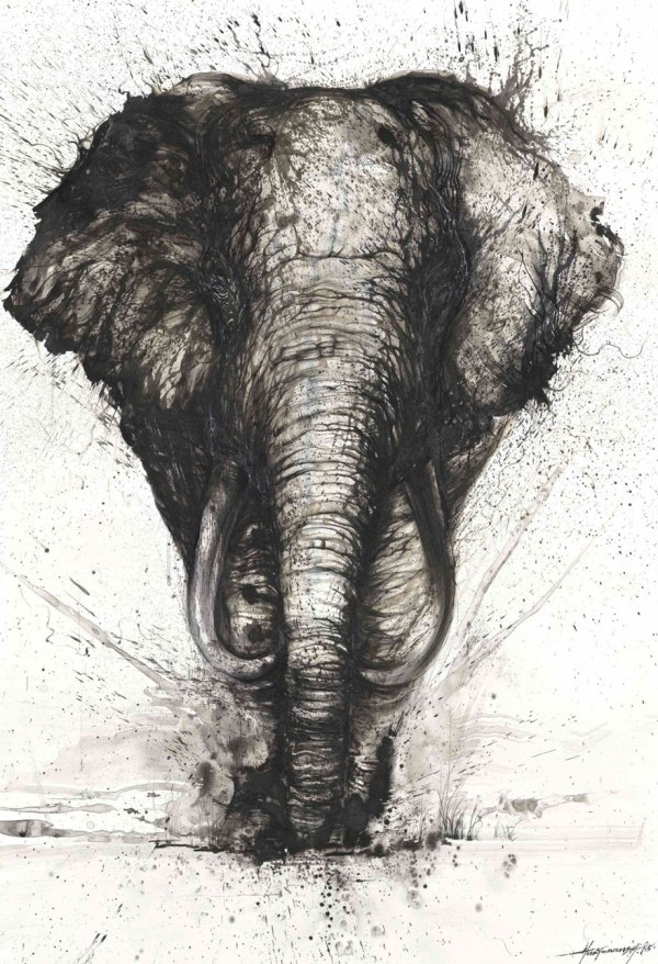 Chinese Ink Painting Elephant
