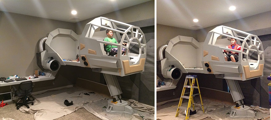 Father Builds His Son A Star Wars Millennium Falcon Bed