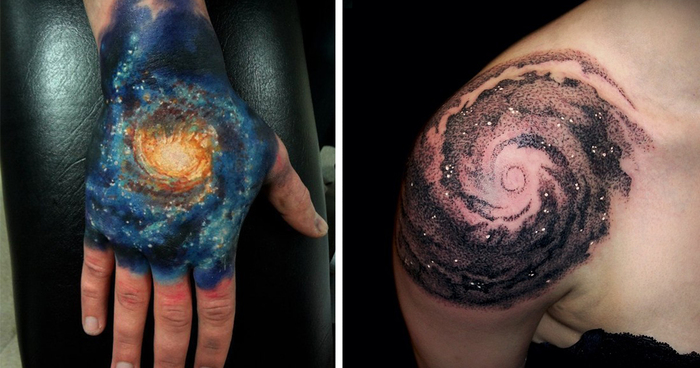 Space Themed Tattoo Black And White