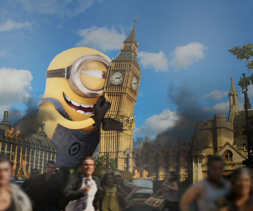 Girl By Beach Wallpaper Sqaure Minions Taking Over Famous Places All Around The World