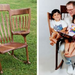 Rocking Chairs For Children Blue Sling Patio Chair Dad Builds Triple So He Could Read To His 3 Kids