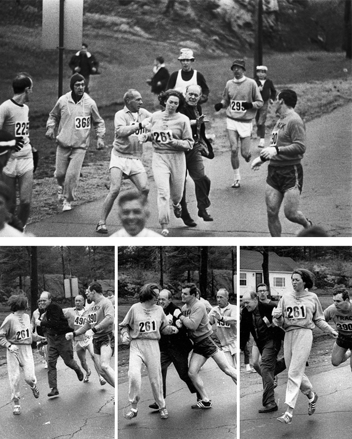 Kathrine Switzer Was The First Woman To Run The Boston Marathon (1967). When Organizer Jock Semple Realised A Woman Was Running He Tried To Tackle Her