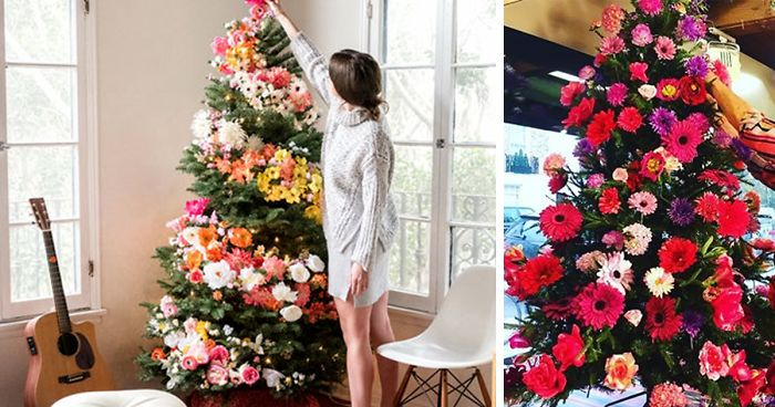 Decorated Christmas Trees With Flowers