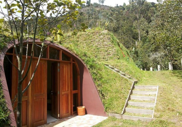 Hobbit Homes Exterior Under a Hill with Concrete Stairway Ecofriendly Houses Green Magic Homes