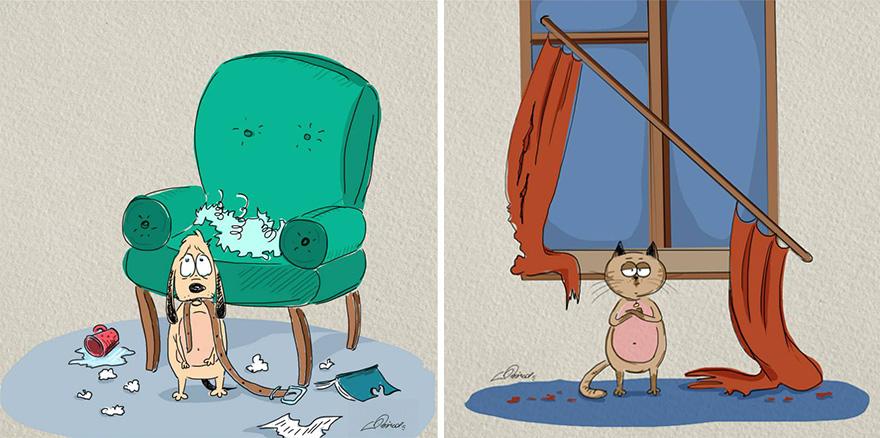 gatos-vs-cães-funny-ilustrações-bird-nascido-7
