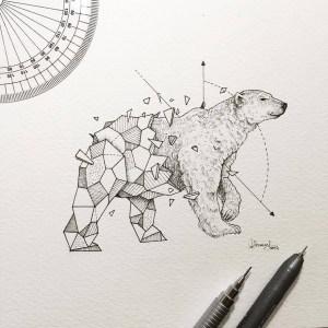 geometric kerby rosanes beasts animal shapes drawings wild animals drawing geometrical sketches panda geometry bored bear doodles artist tattoos