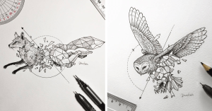 geometric animals drawings wild shapes intricate animal kerby rosanes pencil panda drawing shape sketches beasts tattoo illustrations