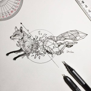 geometric animals drawings wild shapes beasts rosanes kerby animal panda illustrations intricate fused