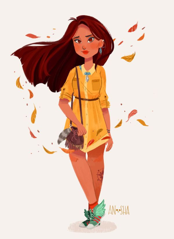 Illustrated Disney Princesses Modern Day Girls Living