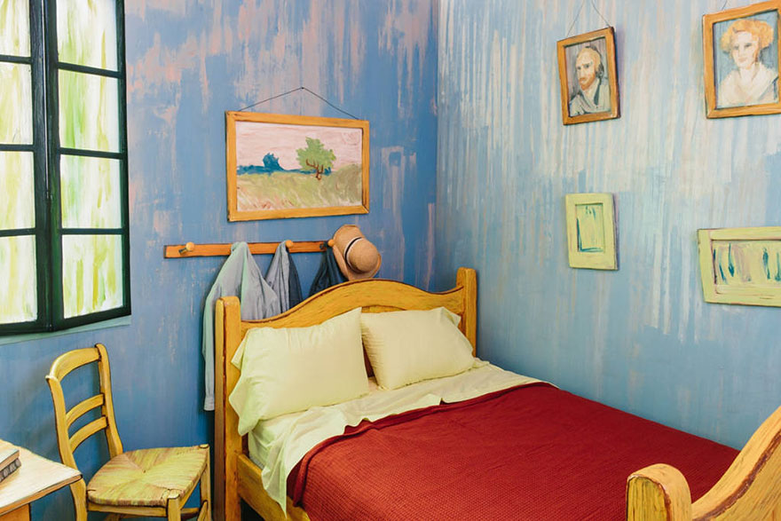 artists recreate van gogh's iconic bedroom and put it for rent on