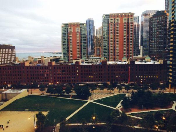 Chicago, IL - vista del lago Michigan y Observatorio Adler