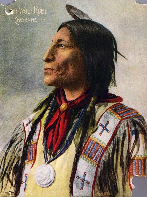Jefe Cheyenne Lobo traje.  Semitono de color reproducción de una pintura de una fotografía FA Rinehart.  1898