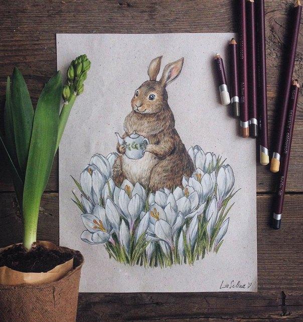cuento de hadas-ilustraciones a todo color lápiz-lia-selina-1