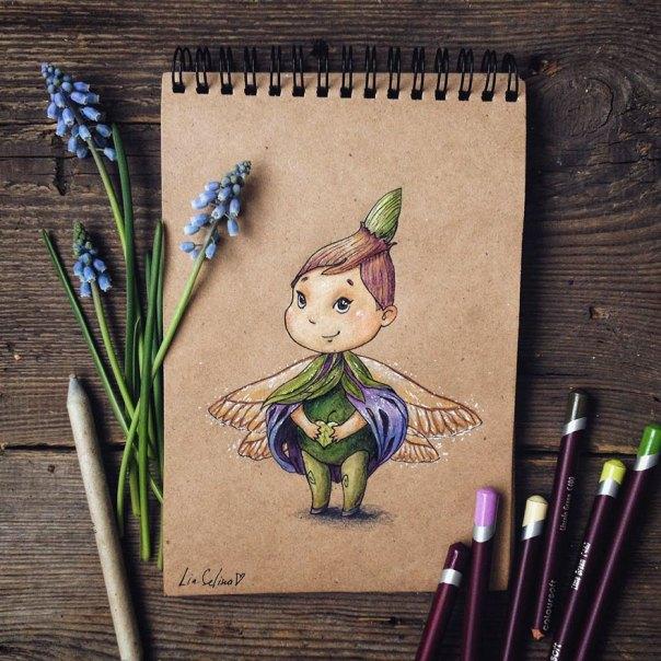 cuento de hadas-ilustraciones a todo color lápiz-lia-selina-17