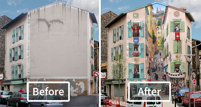 French Artist Transforms Boring City Walls Into Vibrant Scenes Full Of Life
