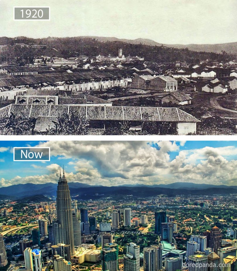 Kuala Lumpur, Malaysia - 1920 And Now