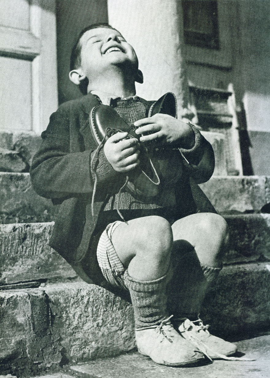 Austrian Boy Receives New Shoes During WWII