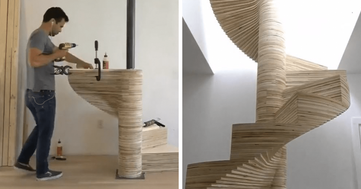 DIY Spiral Staircase Made Out Of Plywood