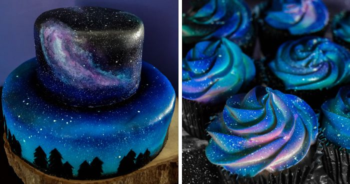 I Was Asked To Make A Galaxy Themed Cake And Cupcakes For