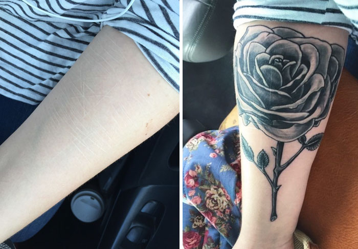 Rose Tattoo Covering Scars From Self-Harm