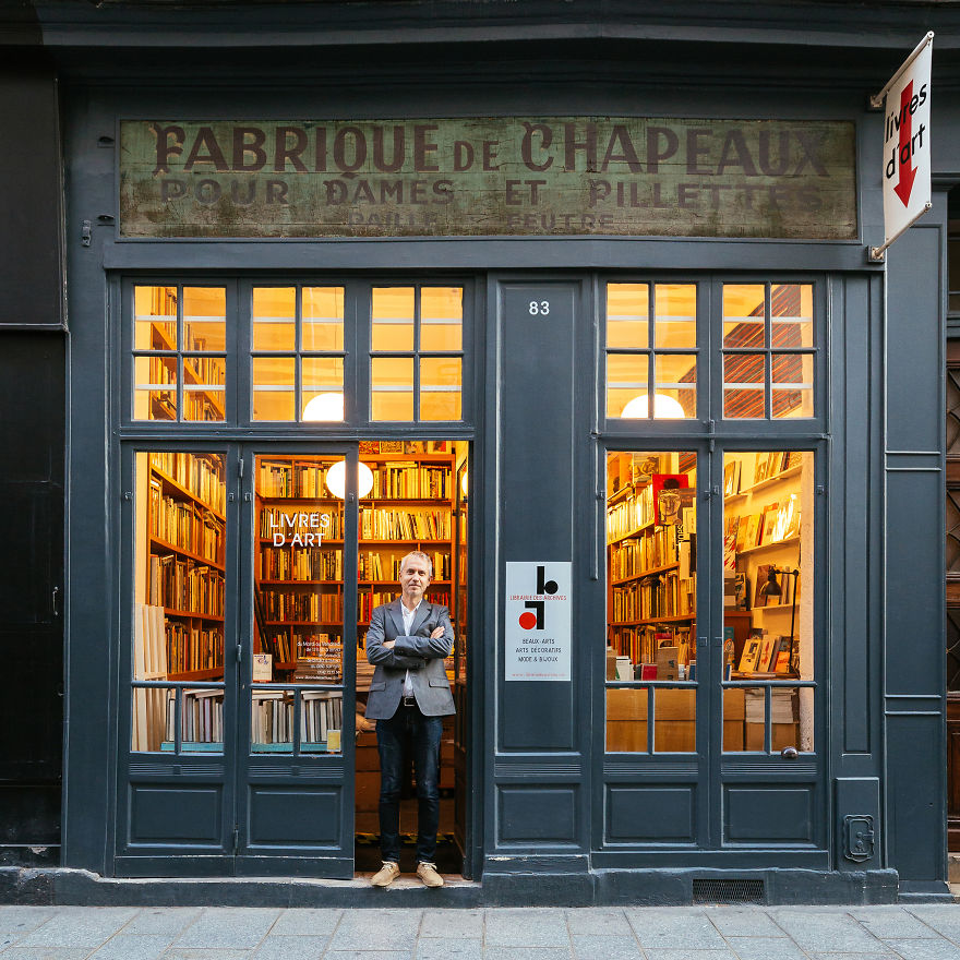 Stefan Perrier, In Front Of What Looks Like A Hat Shop, But Is In Fact A Leading Art Bookshop