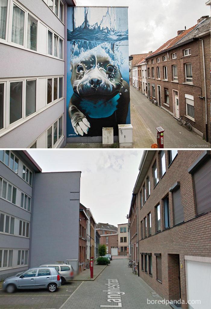 Diving dog mural, Mechelen, Belgium