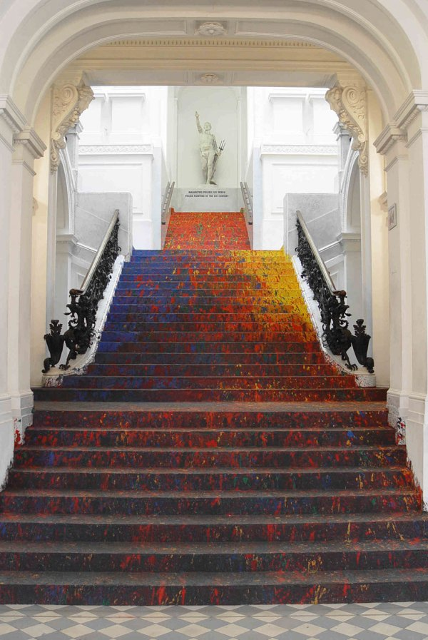 Polish Artist Splatters National Staircase With