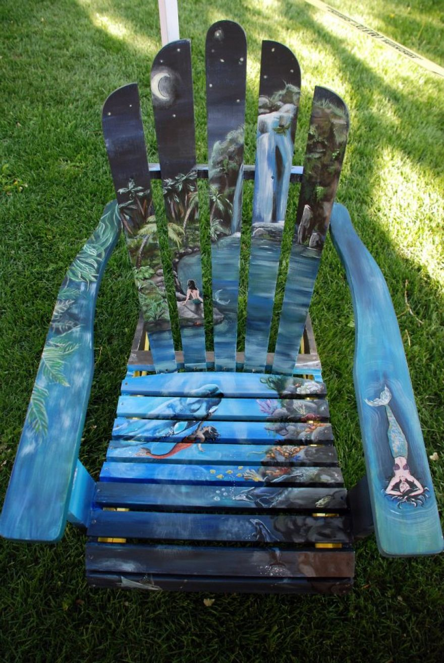 I Paint Vibrant Landscapes On Boring Patio Chairs  Bored