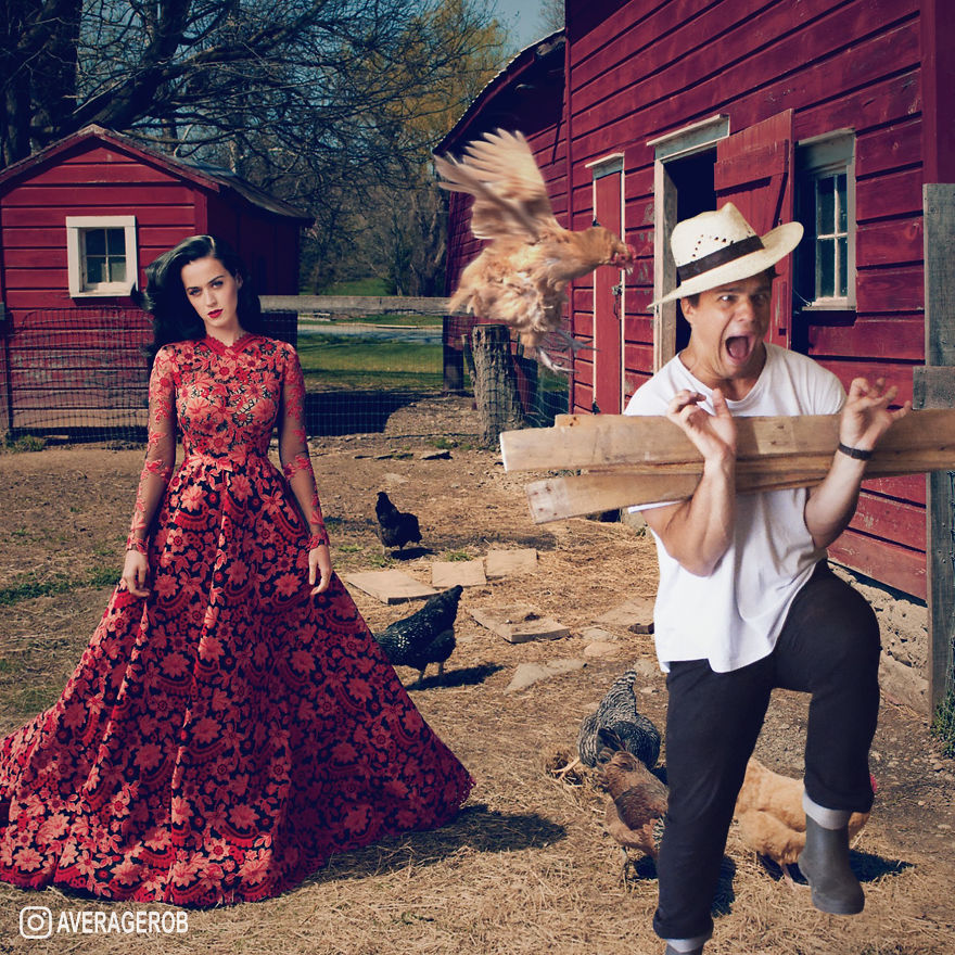 When Katy does a shoot at a barn, animals attack me...