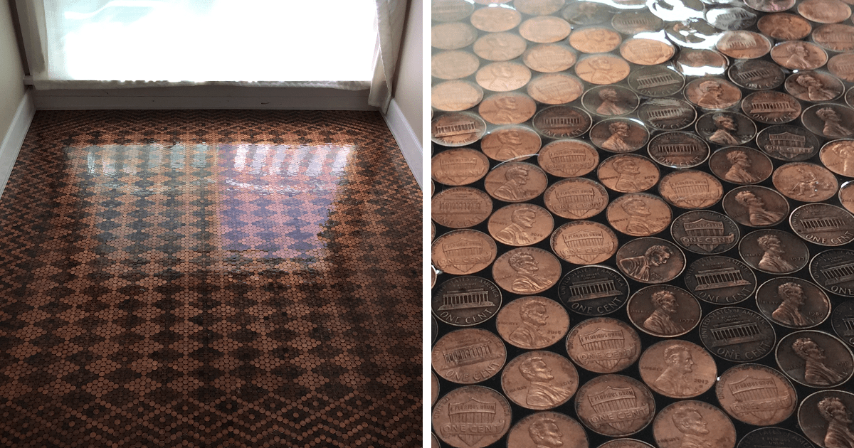 Woman Uses 13000 Pennies To Renovate Old Floor And Turn