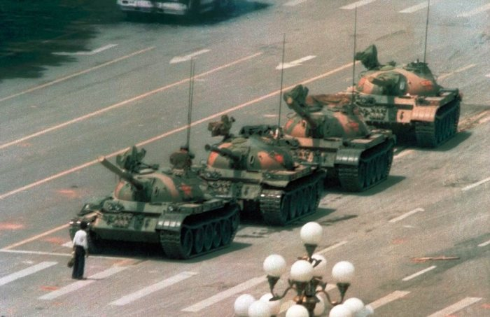 El hombre del tanque, Jeff Widener, 1989