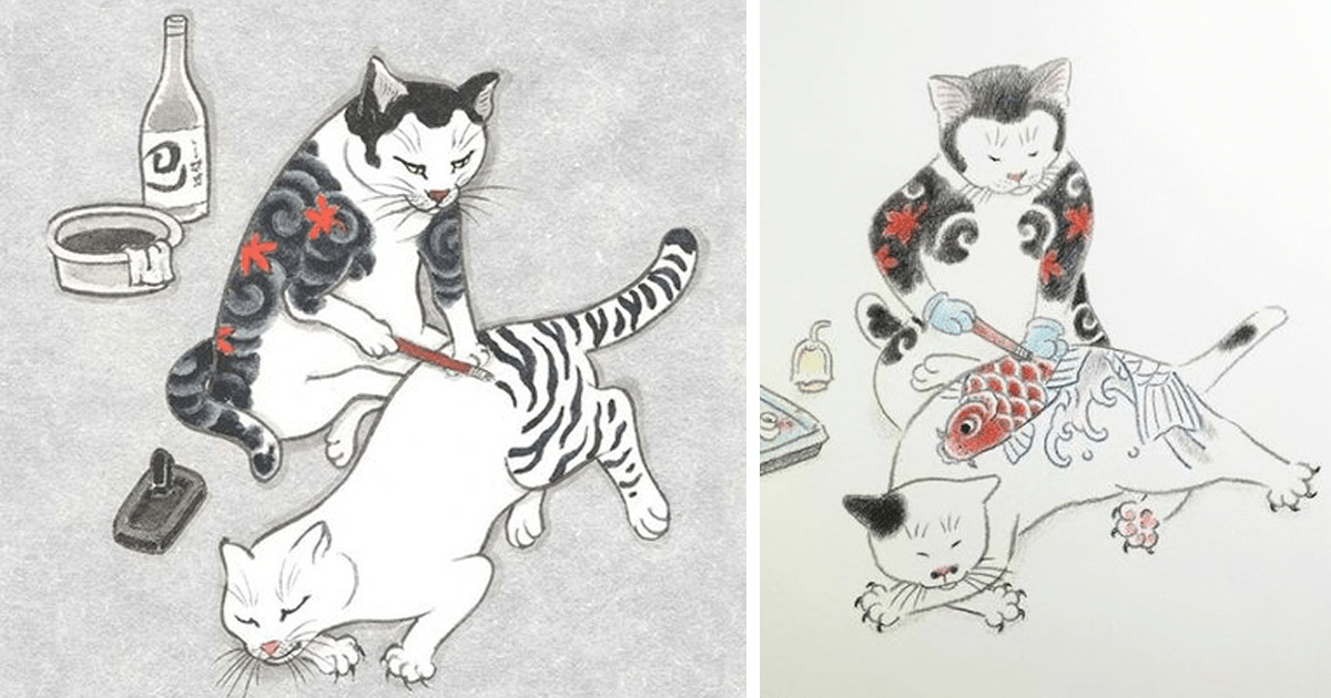 Lucky Star Iphone Wallpaper Cats Tattooing Each Other In Surreal Japanese Ink Wash