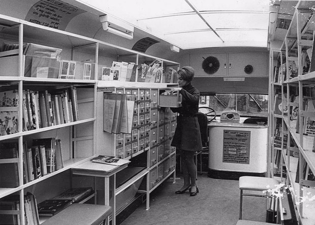 Inside A Bookmobile, 1960s