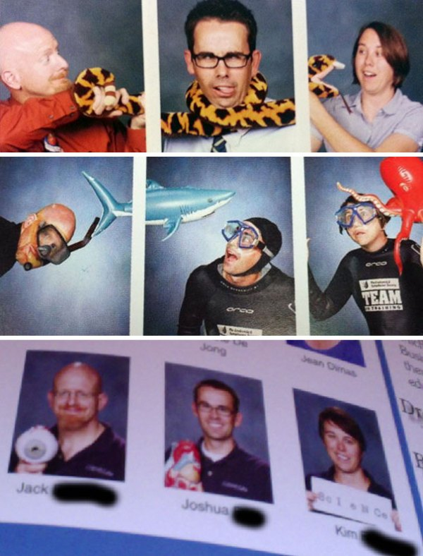 Three Teachers Always Come Up With Something New For Their Yearbook Pictures