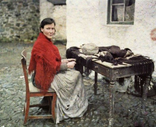 Mother Of Seven Making Fringes For Knitted Shawls, Galway, Ireland, 29 May 1913