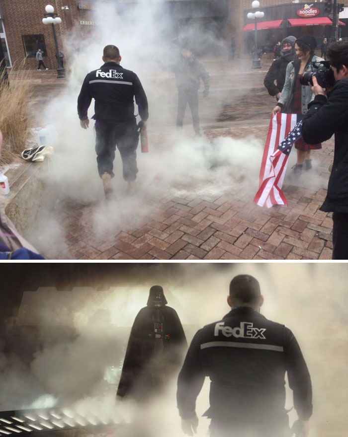 Fedex Man Extinguishes Burning American Flags