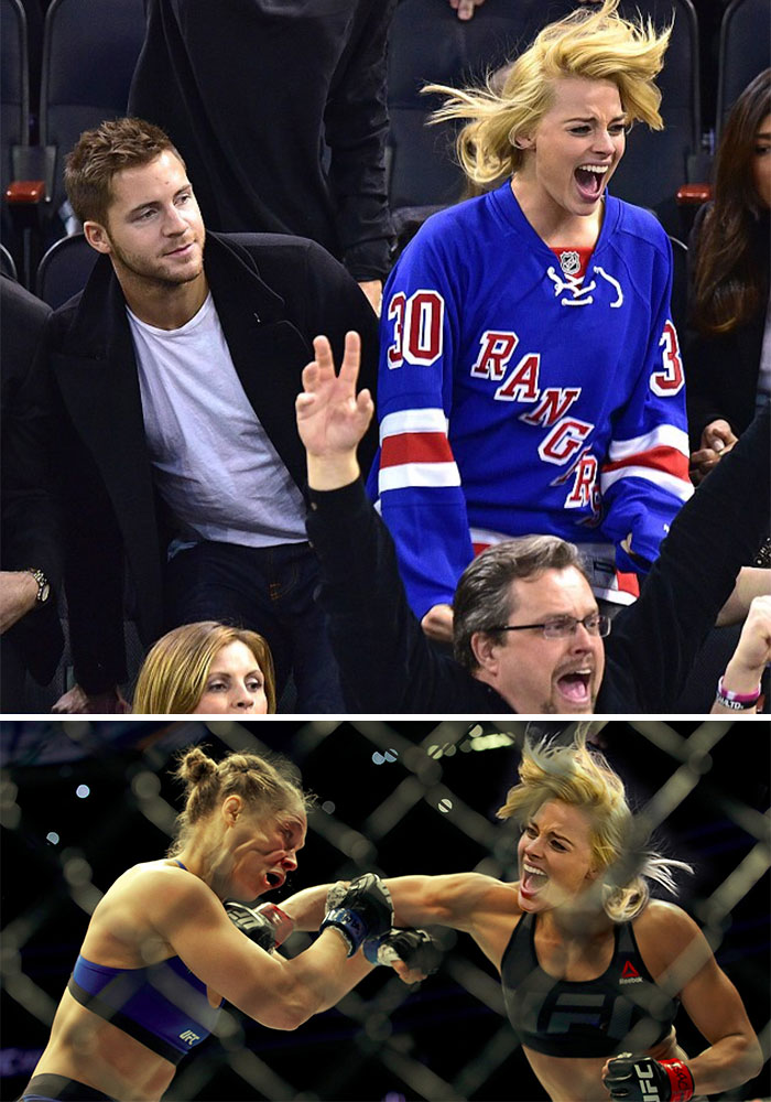 Margot Robbie Excited At A Hockey Game