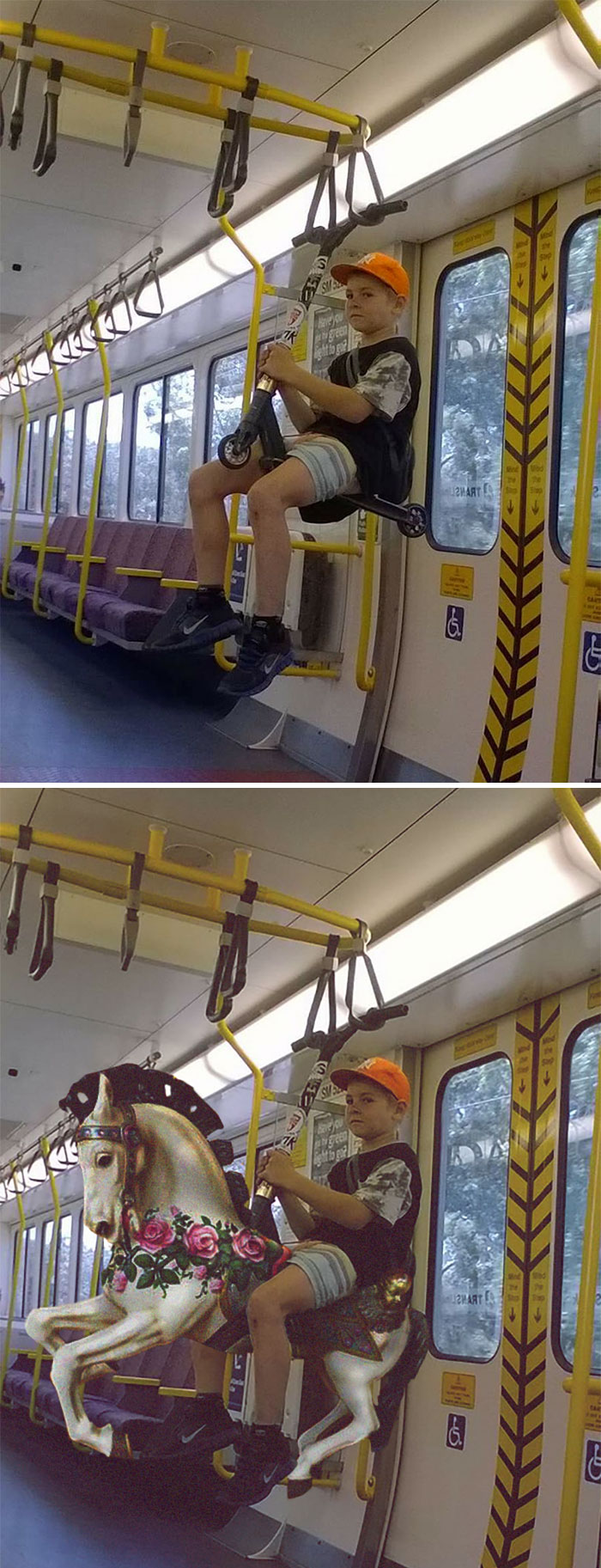 This Kid Riding His Scooter On The Train