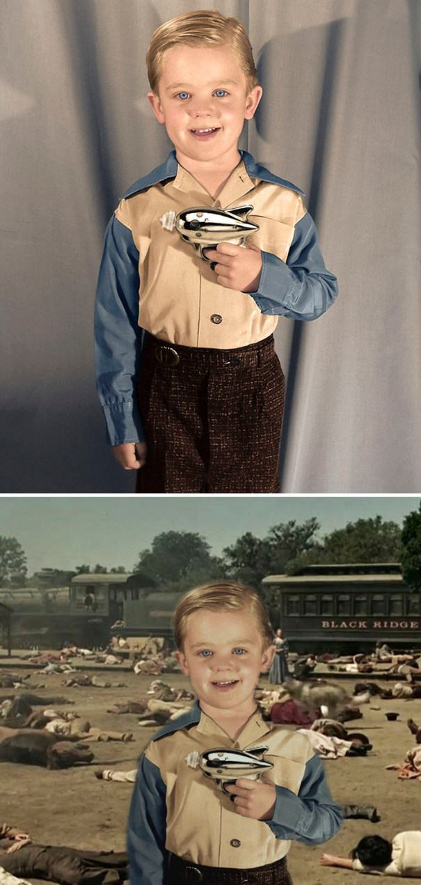 Boy In The 1950s Showing Off His Ray Gun