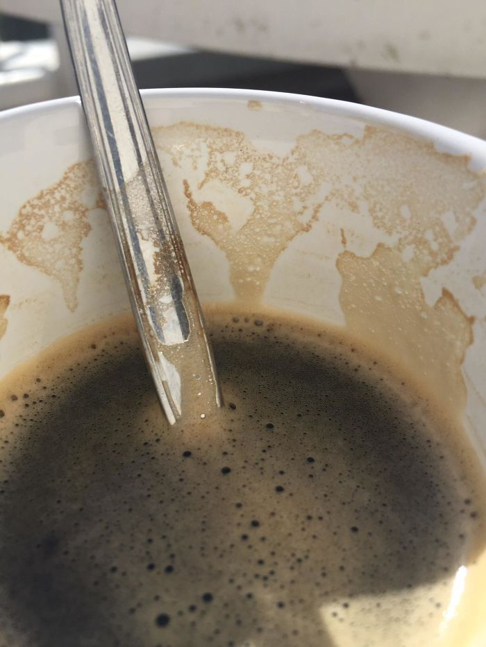 This Coffee Stain That Resembles A Map On The Inside Of My Cup