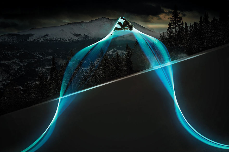 Long Exposure Photography Of A Snowboarder With Leds On His Board