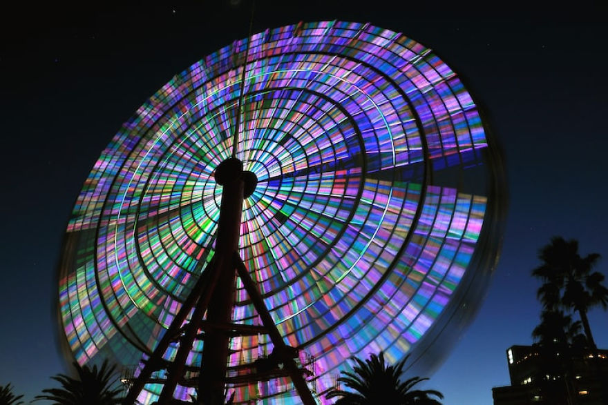 Long Exposure Of Ferris Wheel Looks Like It Has Stained Glass