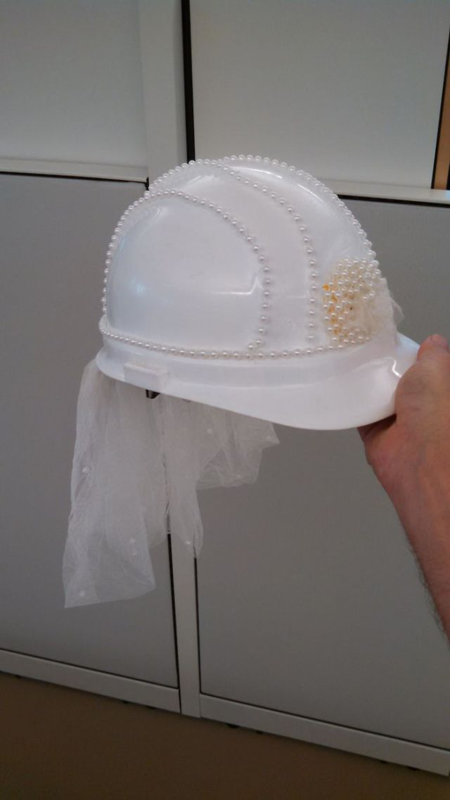 A Project Manager From Our Office Is Getting Married, So We Decorated A Hard Hat For Her